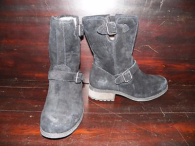 4a4be11b7a2 New Womens UGG Chaney Black Water Resistant Suede Shearling Buckle Moto  Boot | eBay