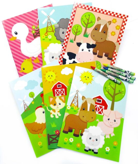 Farm Animals Coloring Books With Crayons Party Favors Set Of 12 Ebay