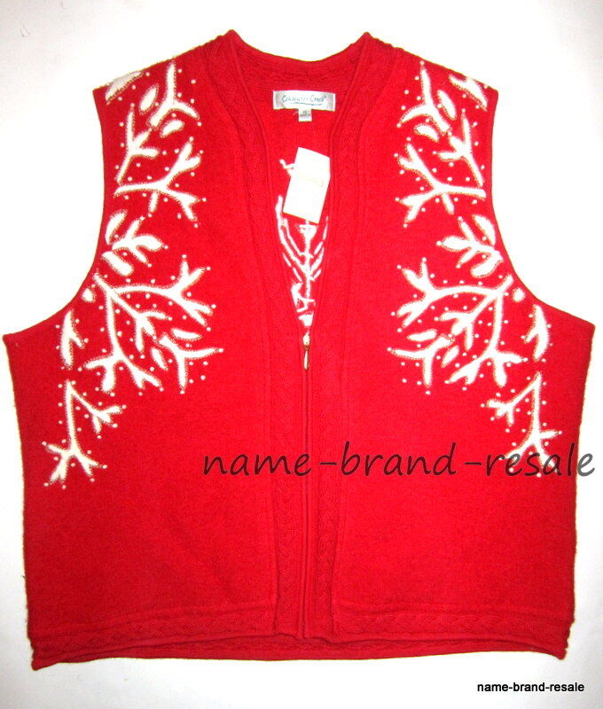 COLDWATER CREEK NWT  Womens Plus 1X Red SNOWFLAKE Zip SWEATER VEST Wool New