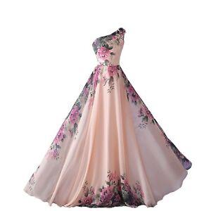 Abiti Da Cerimonia.Abito Da Cerimonia Donna In Chiffon Damigella Vestito Lungo Elegante Floreale Ebay