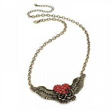 Red Crystal Heart and Wings Pendant Burn Gold Tone Necklace Costume Jewellery