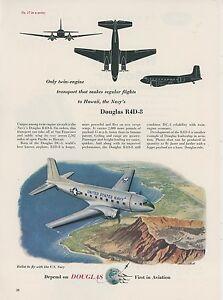 1953-Douglas-R4D-8-Airplane-Ad-US-Navy-Transport-Diamond-Head-Oahu-Hawaii-USN