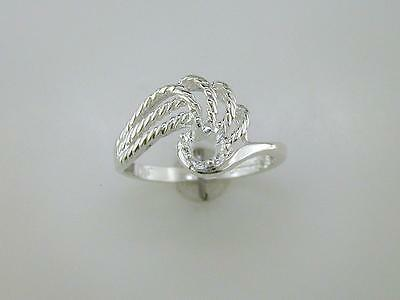 Round Rope Swirl Solitaire Ring Setting Sterling Silver
