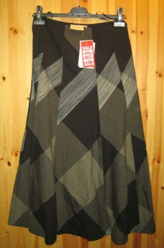 Adini 10 panelled fully lined gored skirt in large scale check 100/% cotton S//XS