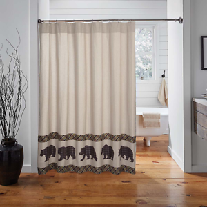 WYATT-BEAR-Shower-Curtain-Cabin-Lodge-Hunting-Rustic-Farmhouse-Khaki-Chambray