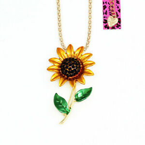 Betsey-Johnson-Enamel-Crystal-Sunflower-Pendant-Chain-Necklace-Brooch-Pin-Gift