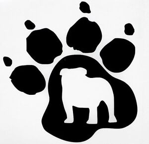 bulldog dog pet paw print car truck window vinyl decal Black White Line Drawing of Lavender Lavender Flowers