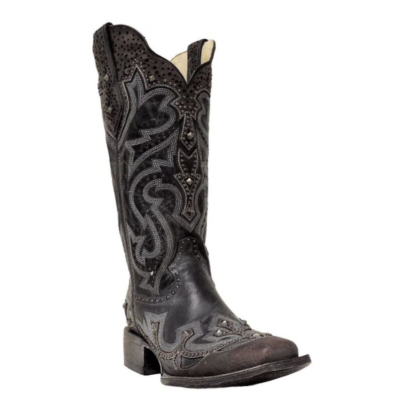 Corral Ladies Black/Brown Embroidery/Stud Boot G1322
