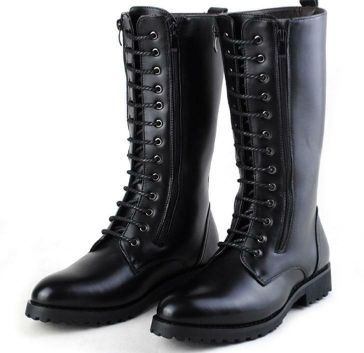 Men's Military Leather Military Equestrian Casual Riding Boots Knee High Boots