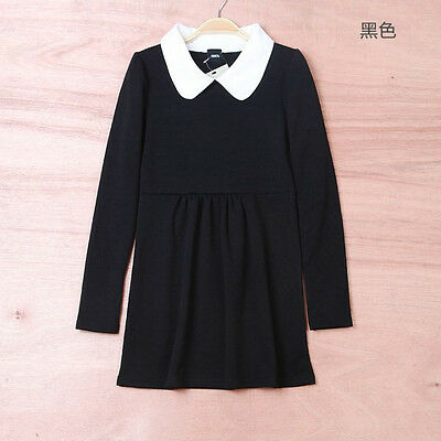 Women's Vintage Pleated Peter Pan Contrast Collar Baby Doll Skirt Mini Dress HOT