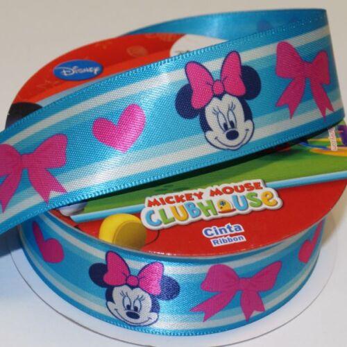 1 Metre Disney Minnie Mouse Bows Blue 25mm Satin Craft Ribbon