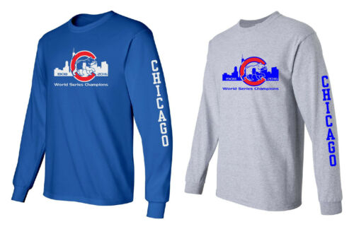 Chicago Cubs 2016 World Series Champions Sky Line Long Sleeve  Shirt