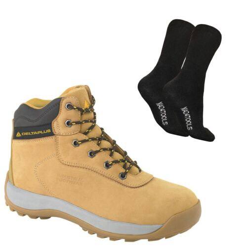 Delta Plus LH840 Hiker Safety Work Boots Tan /& 1 Pair of Socks