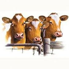 """CATTLE-BROWN GUERNSEY COWS 3 HEADS on One 16"""" Fabric Panel To Sew. Pic 7""""x11""""."""