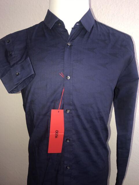 0d7f32a45 NWT $155 BOSS Hugo Boss Mens Ero3 Modern Slim Fit Dark Blue Dress Shirt XL
