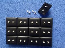 JOB LOT-12 pairs of 0.45cm crystal diamonte stud earrings.Silver plated.UK made.