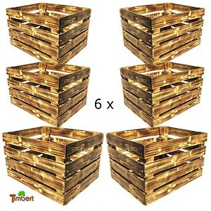 6 x neue geflammte obstkisten apfelkisten rustikale holz kisten weinkisten regal ebay. Black Bedroom Furniture Sets. Home Design Ideas