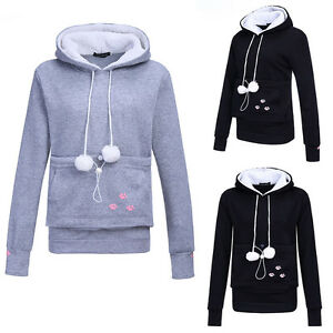d1f45b70 Details about Unisex Cute Hoodies Pouch Pet Dog Cat Hooded Pullover With  Ears Sweatshirt Love