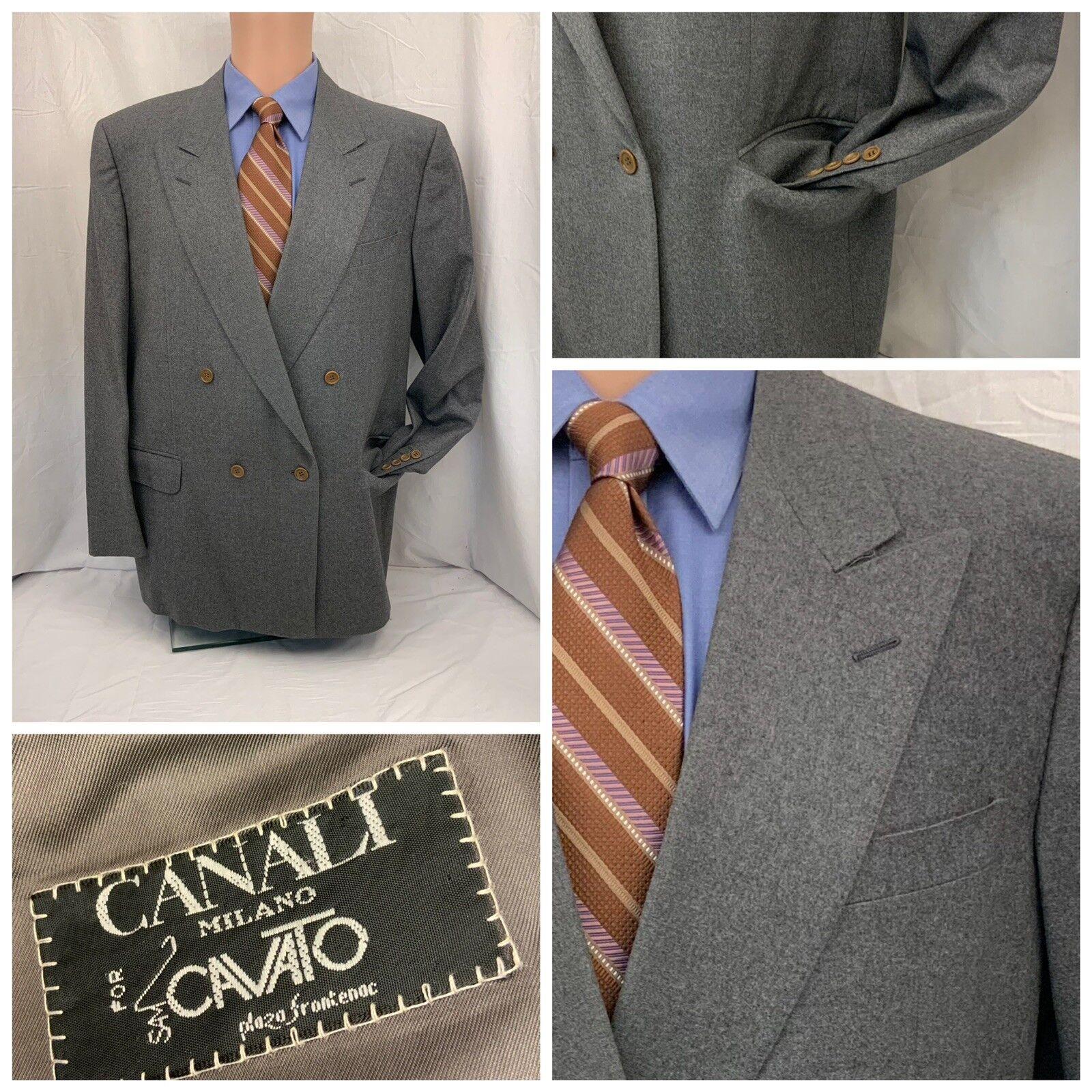 Canali Blazer 44R grau Double Breasted 100% Wool 52 EU Made In  YGI W8-339