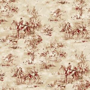 Wallpaper-Traditional-English-Hunt-Scene-Designer-Saratoga-Rust-Tan-on-Cream
