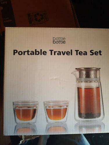 Travel Tea Set,Teapot w// Stainless Steel Infuser /& 2 Double Wall Insulated Cups