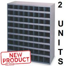 2 Storage Units 72 Hole Bolt Bin Metal Cabinet Compartment Nuts Bolts Screws New