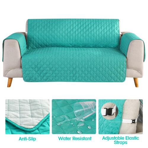 Quilted Sofa Cover Slipcover, Aqua Sofa Slipcover