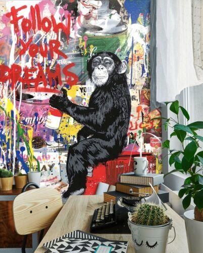 3D Chimpanzee Graffiti R853 Wallpaper Wall Mural Self-adhesive Commerce Amy