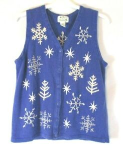 Quacker-Factory-Women-Cardigan-Sweater-Vest-Embellished-Snowflake-Sz-M-Blue-CBO6