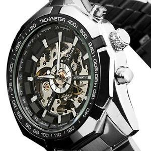 Automatic-Uhr-Herren-Armbanduhr-Schwarz-Weiss-Edelstahl-Geschenk-Heiss