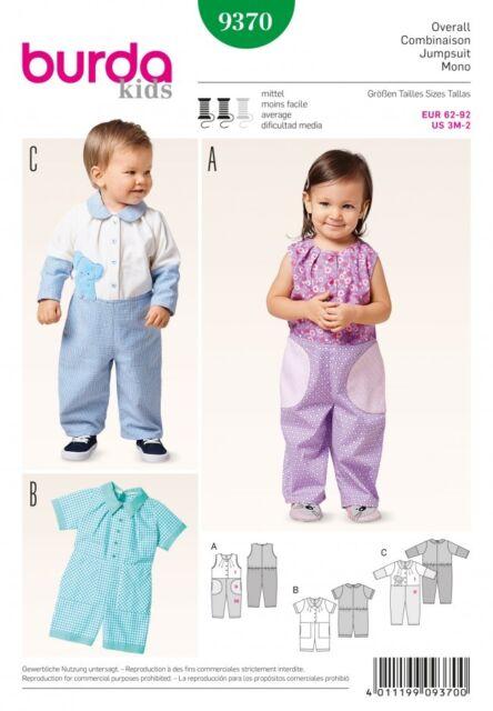 Burda 9370 Sewing Pattern Baby Kids Overall Strampler Suit Toddler