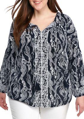 Crown & Ivy Women Plus 2X Embroidered Tassel Tie Neck Seahorse Print Peasant Top
