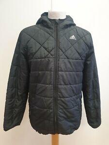I888-Ragazzi-Adidas-Climaproof-nera-con-cappuccio-Puffa-Giacca-UK-XL-eta-13-14-anni