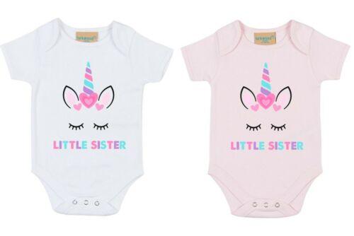 Little Sister Unicorn Bodysuit Printed Baby Toddler Girls Pregnancy Reveal Gift