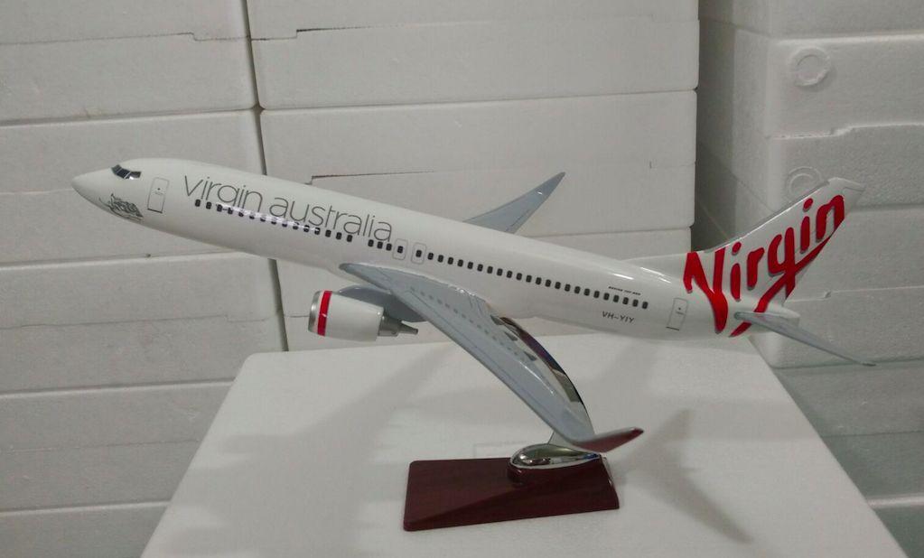 Virgin Australia avión grande avioneta modelo B737 avión de resina sólida 45cm