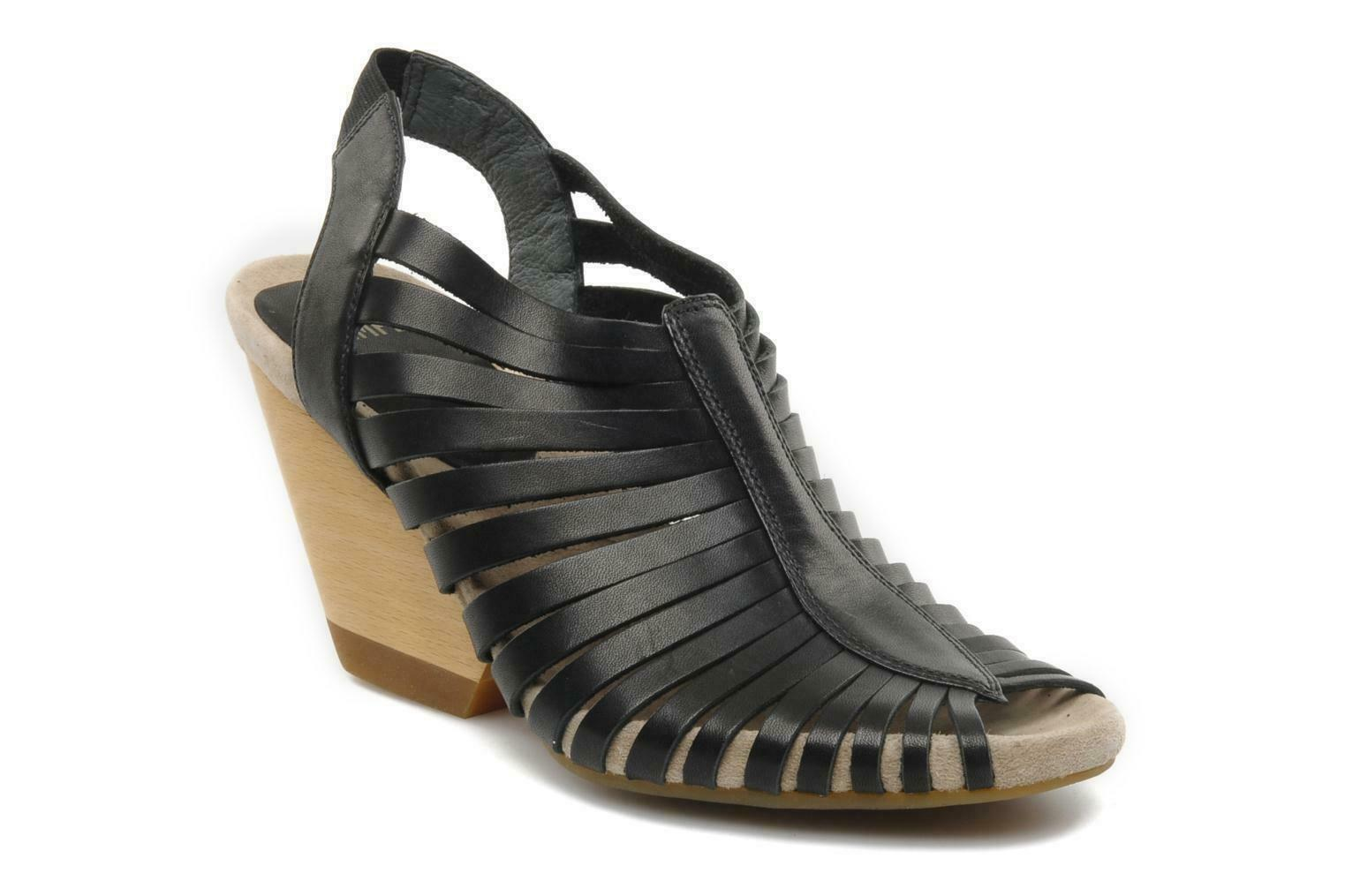 CAMPER RACHAEL DESIGNER BLACK LEATHER WEDGE SANDALS UK 7 EUR 40 BNWOB