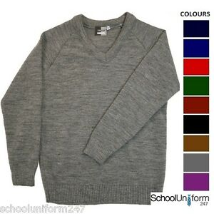 V-Neck-Boys-Girls-Mens-Zeco-Knitted-School-Uniform-Jumpers-Pullovers-Age-3-20-yr
