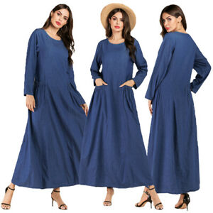 Muslim-Women-Maxi-Dress-Abaya-Denim-Kaftan-Robe-Pockets-Long-Sleeve-Casual-Gown