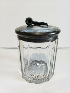 Apollo-Silver-Co-Quadruple-Plate-Tobacco-Glass-Jar-Raised-Pipe-Design-Lid-Old