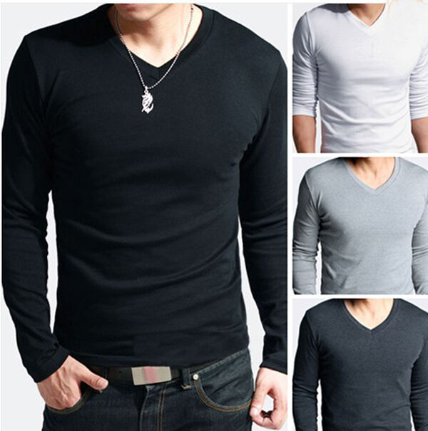 New Skinny Men Slim Fit Cotton Lycra V-Neck Long Sleeve Casual T-Shirt Tops