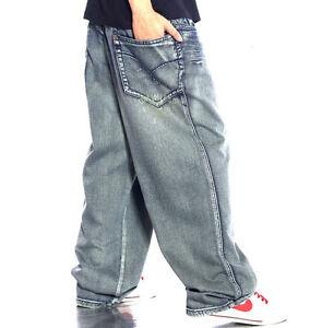 dei dei allentati hop casuali casuali del di jeans uomini pantaloni Skateboard denim hip Pantaloni larghi degli 5xqpgwHp