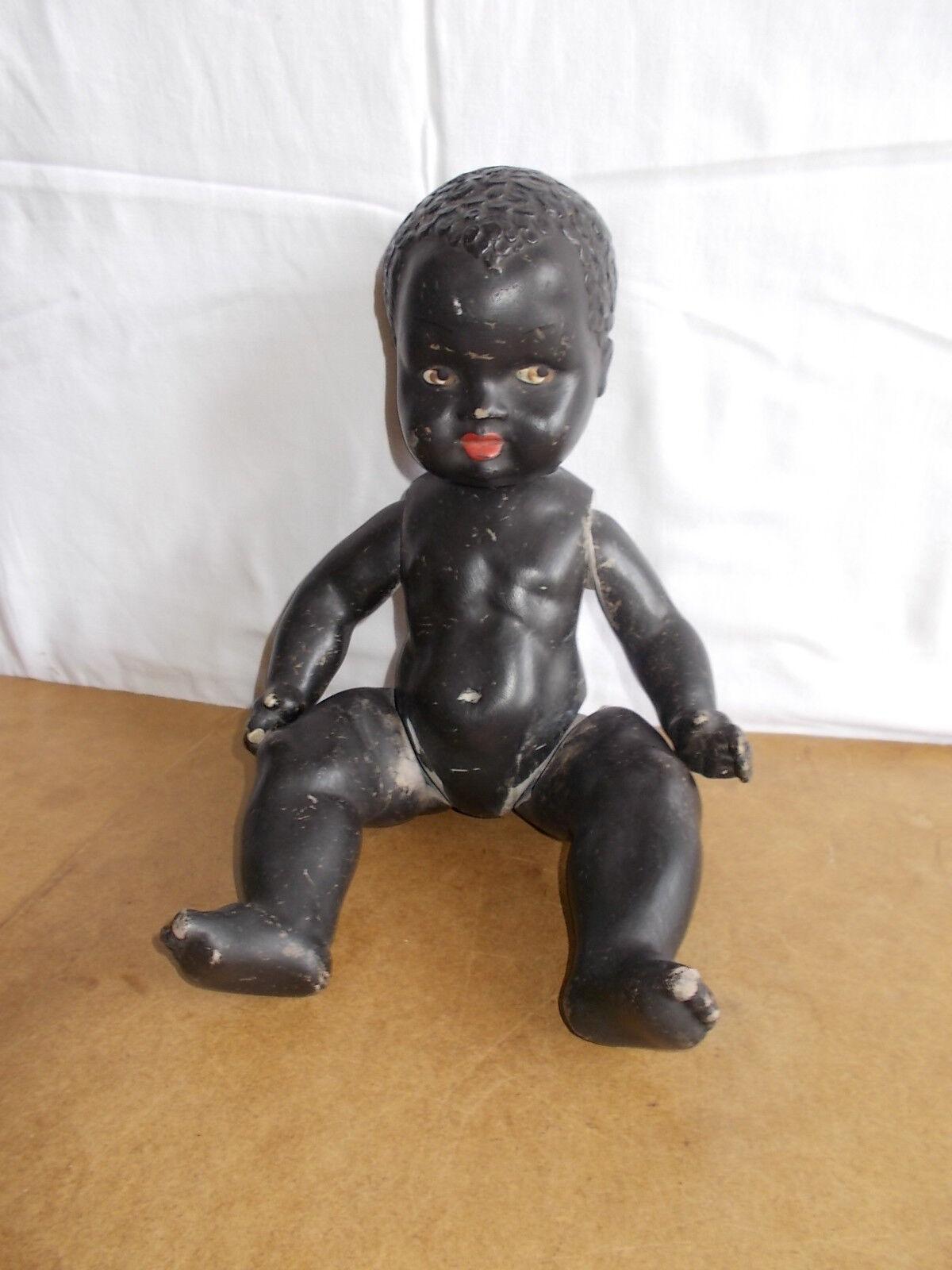 Ancienne poupée en composition   vintage doll - fillette africaine - 37cm - 50's
