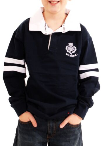 Kids Scotland Cotton Rugby Shirt Navy 2 Stripe Long Sleeve Thistle  11-12 years