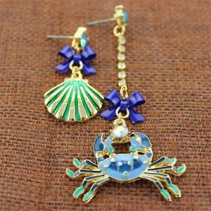 CG0244-GOLD-PLATED-amp-ENAMEL-ASYMMETRIC-EARRINGS-FREE-UK-P-amp-P