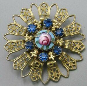 Vintage Jewelry Guilloche Fleur De Lis Flower Blue Brooch
