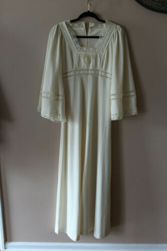 Vtg 1970's Act I Lace/poly ivory peasant Dress Siz