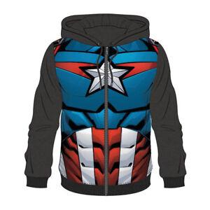 Comics Outfit Captain Large Suit Men's Hoodie Sublimation Marvel America TRPngx7PW