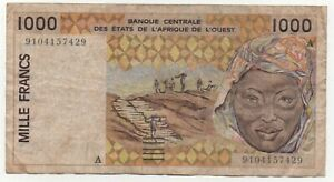 1997 WEST AFRICAN STATES IVORY COAST 1000 FRANCS P.111Ag UNC