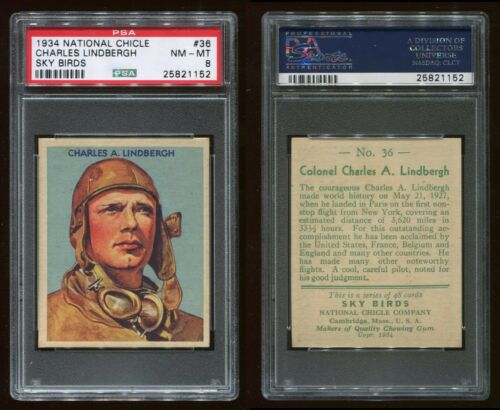 1934 National Chicle Sky Birds #36 Charles Lindbergh 48 PSA 8 NMMT #25821152