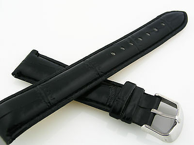 NEW 20mm Genuine Leather Black Watch Band strap